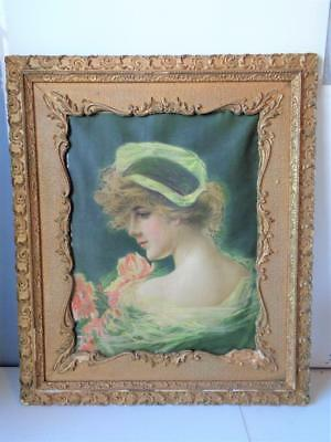 Antique Victorian Framed Tapestry Art Deco Nouveau Woman in Gold Gilt Frame