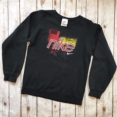 Vtg 90s Nike Spell Out Graphic Crewneck Sweatshirt Black Nike Adult Size Large