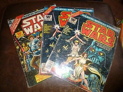 Star Wars Marvel Special Edition Oversized Comics Two #1's One #3 Fair Condition