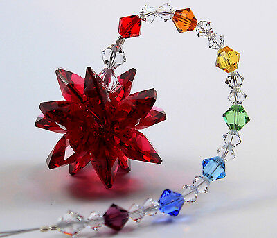 Red (U Pick Color Star Burst ) Suncatcher & Chakra Strand m/w Swarovski Crystal