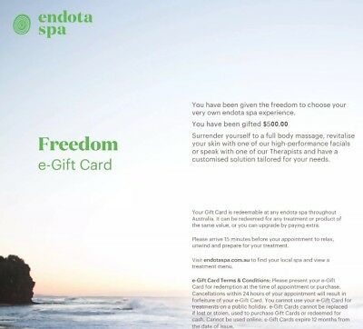 $500 Endota Spa Gift Card - Instant Delivery! 20% Off!