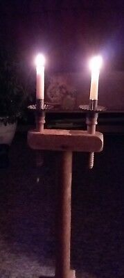 *FANTASTIC* Primitive Wood 1800s Double Candle Stand Vintage Early Lighting AAFA