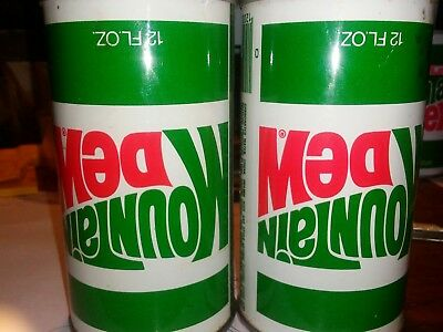 (2)Vintage 1970's Mt.dew Can W/upside Down Label. Empty But Tab Is Still Intact.