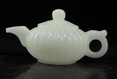 Chinese old hand-made Natural white jade Pumpkin teapot d01