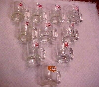 10 Vintage Mini Root Beer Glass Mugs - 9 Twin Kiss & 1 A & W