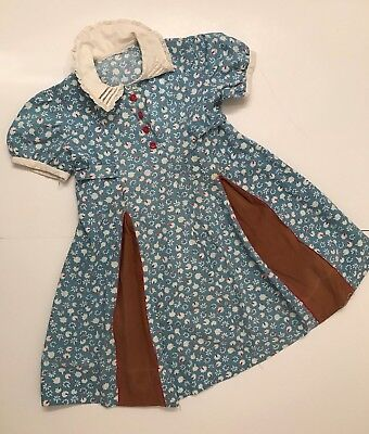 Vintage 1930's little girl dress, blue cotton print, red buttons, feed sack?