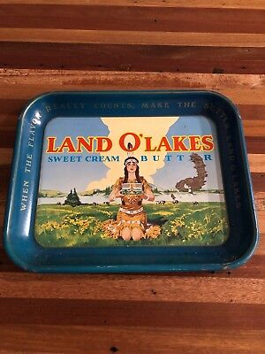 Vtg antique metal ORIGINAL LAND O'LAKES BUTTER ADVERTISING Serving TRAY Decor