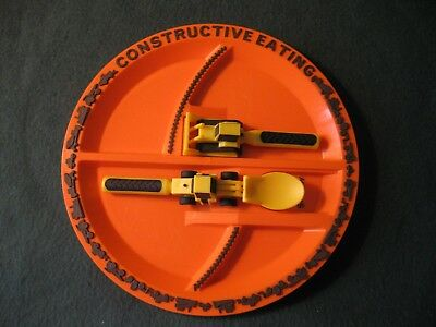 Constructive Eating child's plate, fork & spoon with truck designs baby toddler