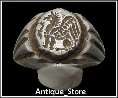 ** GRYPHON with DOLPHIN **Ancient Legionary Silver Greek Roman Ring *WOW 18,5g*