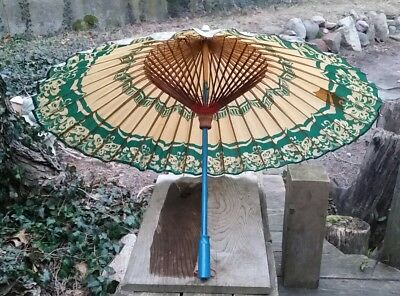 "Vintage Lacquer Paper Parasol Green Tan Flowers Blue Wood Handle 32"" Red Thread"