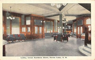 DEVILS LAKE, ND North Dakota  GREAT NORTHERN HOTEL~Lobby  c1920's Postcard