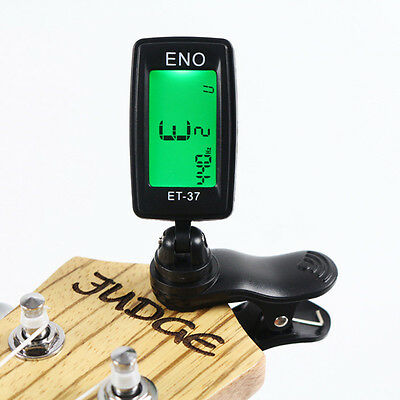 LCD ENO ET37 Mini Clip On Digital Chromatic Guitar Bass Violin Ukulele Tuner