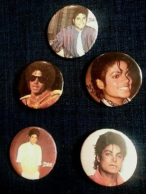 MICHAEL JACKSON Lot of 5 Buttons Pins Vintage 1980's Excellent Condition