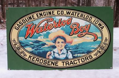 "Vintage Waterloo Boy Tractor Porcelain John Deere Metal Sign 18"" x 10"""