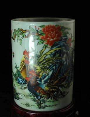 Chinese Old Pastel Porcelain Hand Painted Chicken Brush Pot /tongzhi Mark C01