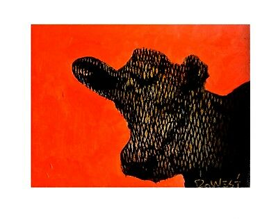 Red Cow. From An Original Painting By Ro West.W/COA.