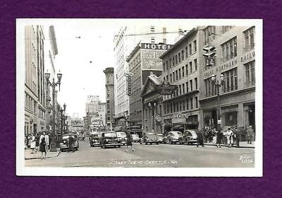 RPPC SEATTLE WA STREET SCENE GREAT NORTHERN RW HOTELS GEORGIAN n LORING HEADs