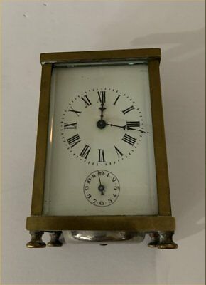 Nice Antique French Brass Beveled Glass Carrage Clock With Alarm