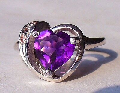 NEW Silver RING 2ct+ 8mm HEART Facet/Cut AMETHYST +3 Sparkly Pink MALAYA GARNET