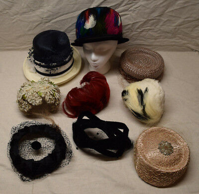 Lot of 9 Vintage Ladies Hats Colorful Feathers Black Pink White Blue Womans