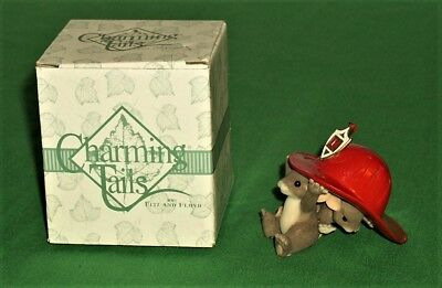 Charming Tails We're Here When You Need Us Figurine-Mice Under Fireman's Hat COA