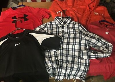 5pc LOT Abercrombie & Fitch UNDER ARMOUR Nike Boys L Large SHIRT Jacket athletic