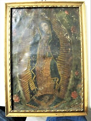 Original Antique Retablo On Tin  With Ithe Image Of Our Lady Of Guadalupe Framed