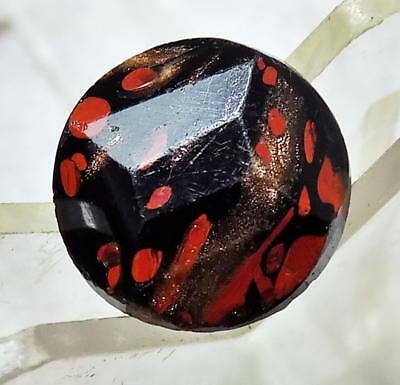 Antique Leo Popper Victorian Black Glass Button Faceted Round Glitter Copper Red