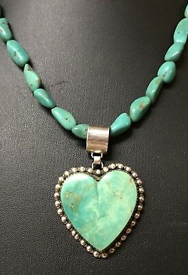 Old Pawn Rare Buffalo Dancer Sterling Native Turquoise Heart Pendant Necklace