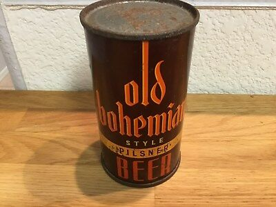 Old Bohemian (104-33) empty OI flat top beer can by Forest City, Clevelandl, OH