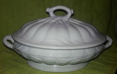 1853-1871 Antique White Ironstone Ceres Elsmore & Forster Covered Dish