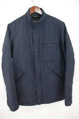 J.Crew Sussex Quilted Jacket Navy Blue Cotton Nylon Blend Men's Small