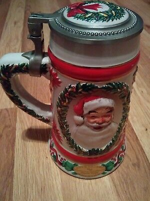 1992 christmas beer stein the norman rockwell rockwell's jolly santa A3453