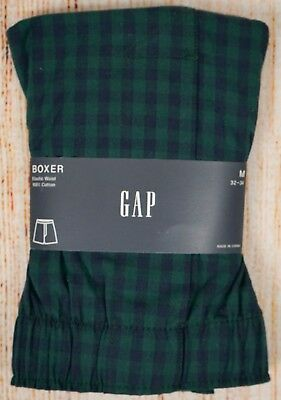 NIP Mens GAP Boxers 100% Cotton Elastic Waist Green/Blue Plaid - 982093