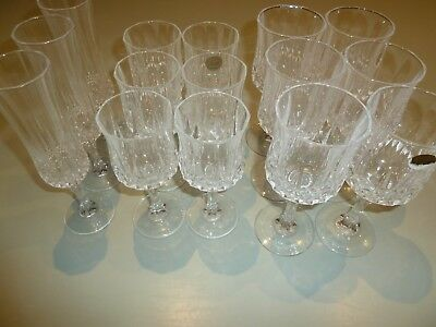 15 Crystal D'Arques Longchamp Wine Glasses, 6 Large, 6 Small, 3 Champagne Flutes