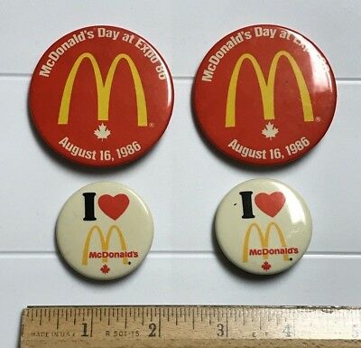 Lot of McDonald's Day Expo 86 1986 World's Fair Exposition Vancouver Button Pins