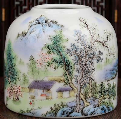 China Collection Famille-Rose Porcelain Hand Painted Landscape Brush Wash B02