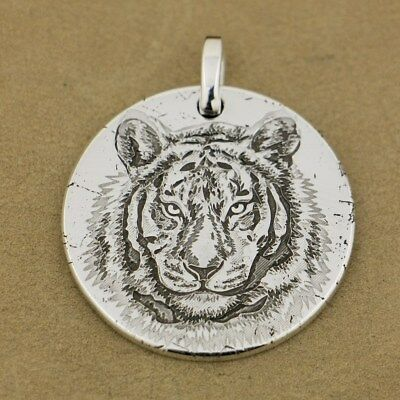999 Sterling Silver Tiger King Sharp Claw Dogtag Mens Biker Pendant 9X302D 4PX