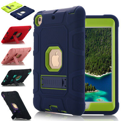 For Apple iPad mini 1 2 3 4 Case Shockproof Rugged Rubber Hard Armor Stand Cover