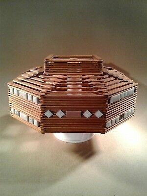 Vintage Tramp Art Lamp Shade Mid Century Rare Arts And Crafts Inspired