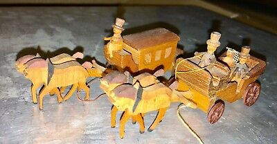 Vintage Wood Hand Crafted Wagon Buggy Horse Miniature Detailed Lot Dollhouse