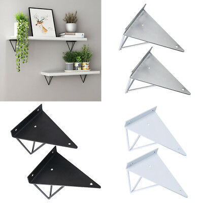 2Pcs Double Hairpin Industrial Wall Shelf Support Bracket Metal Prism Mount UK