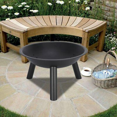 """22"""" Round cast Iron Fire Pit Fire Bowl Outdoor Wood Burning Grill Patio Heater"""