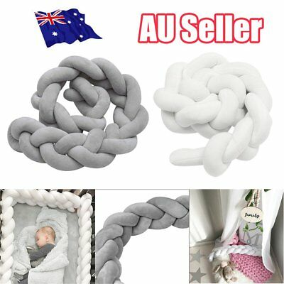 2/3M Infant Baby Plush Crib Bumper Bedding Bed Cot Braid Pillow Pad Protector BK