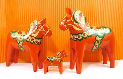 Vintage  SWEDISH DALAHEMSLOJD  Orange Wood DALA Horse  signed NILS OLSSON