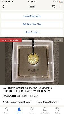 NEW!! RAE DUNN Artisan Collection By Magenta NAPKIN HOLDER WITH LEMON WEIGHT