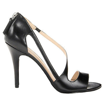 "NINE WEST Leather Strappy Asymmetric SIMPLISTIC 4"" Heel Sandals Black • 7 • NEW"