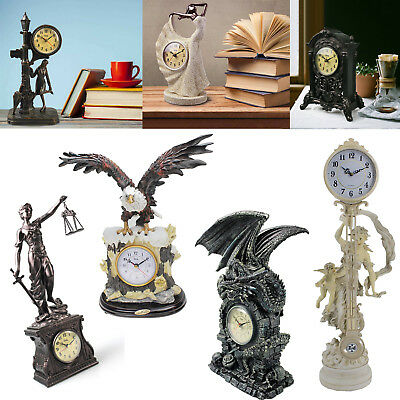 Artificial Resin Clock Statue Sculpture Antique Quartz Clock Handpainted Decor