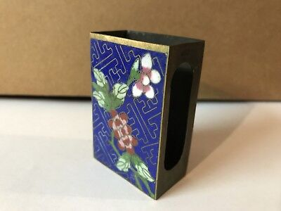 Antique Chinese Cloisonne Match Box Cover Brass Florals on Blue