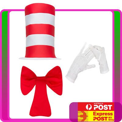 Kids Stripe Cat in the Hat Costume Dr Seuss Bow Tie Gloves Boys Child Book Week